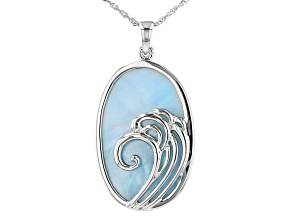 Blue South Sea Mother-of-Pearl Rhodium Over Sterling Silver Pendant