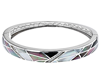 Picture of White South Sea & Tahitian Mother-of-Pearl, Onyx, & Zircon Rhodium Over Sterling Silver Bangle