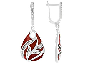 Red Sponge Coral & White Zircon Rhodium Over Sterling Silver Earrings