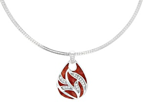 Red Sponge Coral & White Zircon Rhodium Over Sterling Silver Pendant With Chain