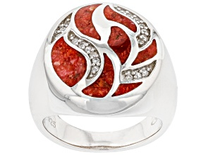 Red Sponge Coral & White Zircon Rhodium Over Sterling Silver Ring