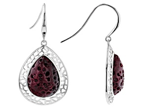 Purple Spiny Oyster Shell Rhodium Over Sterling Silver Earrings