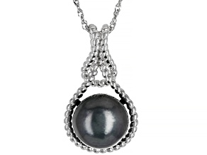 Tahitian Cultured Pearl Rhodium Over Sterling Silver Pendant With Chain