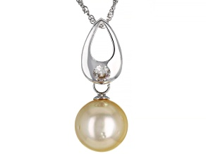Golden Cultured South Sea Pearl & Zircon Rhodium Over Sterling Silver Pendant With Chain
