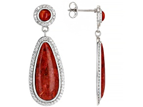 Red Sponge Coral & White Zircon 1.60ctw Rhodium Over Sterling Silver Earrings