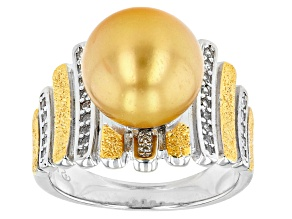Golden Cultured South Sea Pearl & White Zircon Rhodium & 18k Yellow Gold Over Sterling Silver Ring