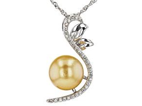 Golden Cultured South Sea Pearl & White Zircon Rhodium Over Sterling Silver Pendant