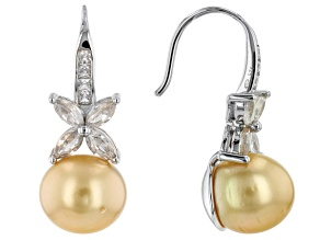 Golden Cultured South Sea Pearl & White Zircon  Rhodium Over Sterling Silver Earrings