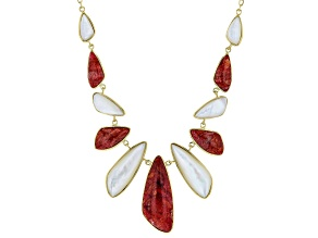 Red Sponge Coral & White South Sea Mother-of-Pearl 18k Yellow Gold Over Silver 18 Inch Necklace