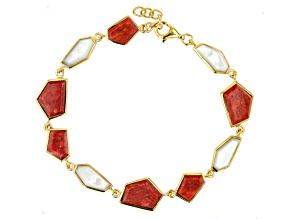Red Sponge Coral & White South Sea Mother-of-Pearl 18k Yellow Gold Over Silver 7 Inch Bracelet