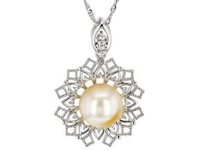 Golden Cultured South Sea Pearl & White Zircon 1.75ctw Rhodium Over Sterling Silver Pendant