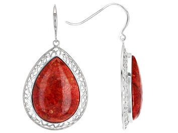 Picture of Red Sponge Coral Rhodium Over Sterling Silver Dangle Earrings