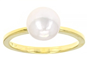White Cultured Japanese Akoya Pearl 18k Yellow Gold Over Sterling Silver Ring