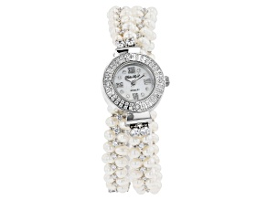 White Cultured Freshwater Pearl & Cubic Zirconia Rhodium Over Brass Wrap Watch