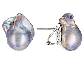 Platinum Cultured Freshwater Pearl Rhodium Over Sterling Silver Earrings