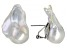 White Cultured Freshwater Pearl Rhodium Over Sterling Silver Earrings
