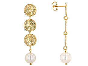 White Cultured Freshwater Pearl With Coin Accents 18k Yellow Gold Over Sterling Silver Earrings