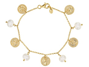 White Cultured Freshwater Pearl With Coin Accents 18k Yellow Gold Over Sterling Sterling Bracelet