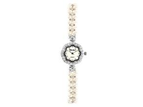 White Cultured Freshwater Pearl & Cubic Zirconia Rhodium Over Brass Wrist Watch