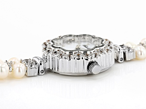 White Cultured Freshwater Pearl & Cubic Zirconia Rhodium Over Brass Wrist Watch