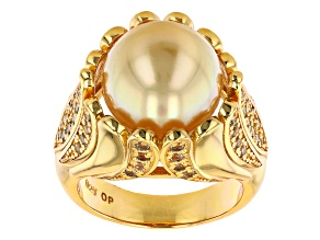 Golden Cultured South Sea Pearl & White Topaz 18k Yellow Gold Over Sterling Silver Ring