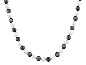 Multi-Color Cultured Freshwater Pearl Rhodium Over Sterling Silver 18 Inch Strand Necklace