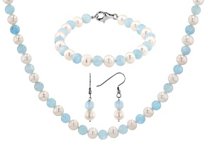 White Cultured Freshwater Pearl & Aquamarine Rhodium Over Silver Necklace, Bracelet, & Earrings Set