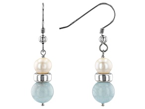 White Cultured Freshwater Pearl & Aquamarine Rhodium Over Sterling Silver Earrings