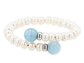 6-7mm White Cultured Freshwater Pearl & Aquamarine Rhodium Over Sterling Silver Bracelet