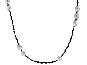 Platinum Cultured Freshwater Pearl & Black Spinel Rhodium Over Sterling Silver 36 Inch Necklace