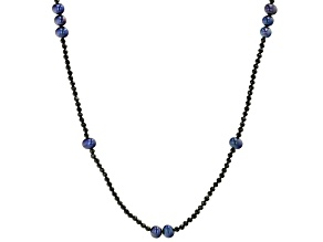 Black Cultured Freshwater Pearl & Black Spinel 48 Inch Endless Necklace