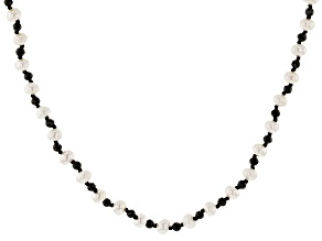 White Cultured Freshwater Pearl & Black Spinel 48 Inch Endless Necklace
