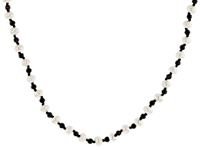 White Cultured Freshwater Pearl & Black Spinel 72 Inch Endless Necklace