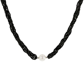 White Cultured Freshwater Pearl & Black Spinel Rhodium Over Sterling Silver 20 Inch Necklace