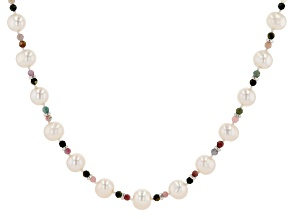 White Cultured Freshwater Pearl & Multi Tourmaline Rhodium Over Sterling Silver 20 Inch Necklace