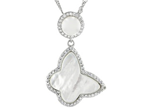 White Cultured Freshwater Pearl, Mother-of-Pearl, & Cubic Zirconia Rhodium Over Silver Pendant
