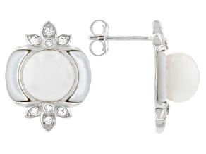 White Cultured Freshwater Pearl, Mother-of-Pearl, & Cubic Zirconia Rhodium Over Silver Earrings
