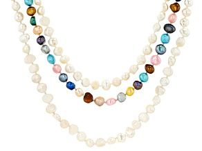 Multi-Color Cultured Freshwater Pearl Rhodium Over Sterling Silver Necklace Set of 3