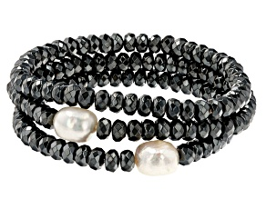 White Cultured Freshwater Pearl & Hematine Stretch Bracelet Set of 3