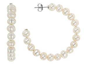 White Cultured Freshwater Pearl Rhodium Over Sterling Silver Hoop Earrings