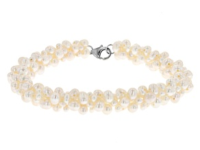 White Cultured Freshwater Pearl Rhodium Over Sterling Silver Bracelet