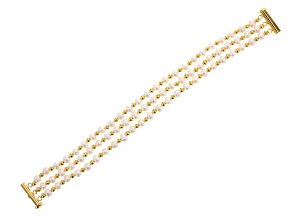 White Cultured Freshwater Pearl 14k Yellow Gold Over Sterling Silver Bracelet