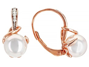 White Cultured Japanese Akoya Pearl With Diamond Accent 18k Rose Gold Over Sterling Silver Earrings