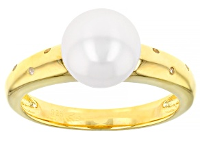 White Cultured Japanese Akoya Pearl & White Zircon 18k Yellow Gold Over Sterling Silver Ring