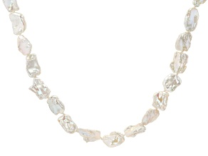 White Cultured Keshi Freshwater Pearl & White Zircon Rhodium Over Sterling Silver 20 Inch Necklace