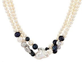 Multi-color Cultured Freshwater Pearl Rhodium Over Sterling Silver 18 Inch Multi-Row Necklace