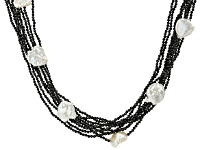 White Cultured Keshi Freshwater Pearl, Black Spinel, & White Zircon Rhodium Over Silver Necklace
