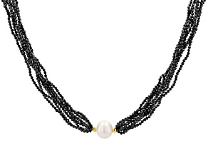 White Cultured Freshwater & Black Spinel 18k Yellow Gold Over Sterling Silver 20 Inch Necklace