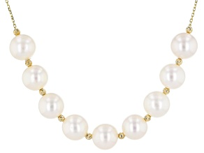 White Cultured Freshwater Pearl 14k Yellow Gold 16 Inch Necklace