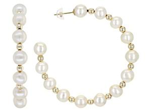 White Cultured Freshwater Pearl 14k Yellow Gold Hoop Earrings